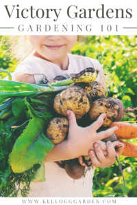 """Girl holding vegetables with text, """"Victory gardens 101"""""""