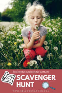 "Little girl blowing on a dandelion with text, ""Childrebs gardening activity, scavenger hunt"""