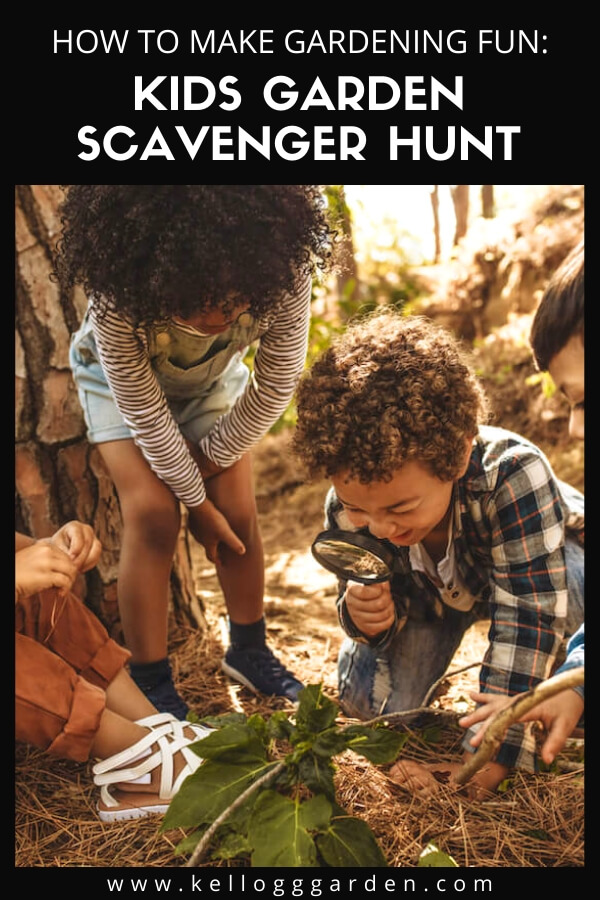"Group of children looking through a magnify glass with text, ""How to make gardening fun, kids garden scavenger hunt"""