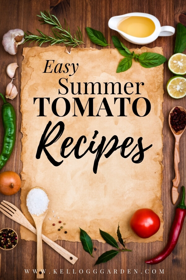 """Kitchen utensils and veggies with text, """"Easy summer tomato recipes"""""""