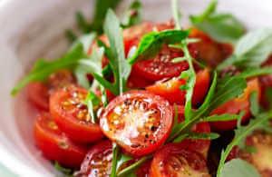 Tomato and arugula salad.