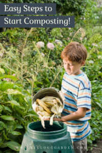 """Young buy dumping kitchen scraps into composting bin with text, """"Easy steps to start composting"""""""