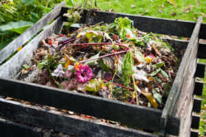 Wooden Compost bin in the garden