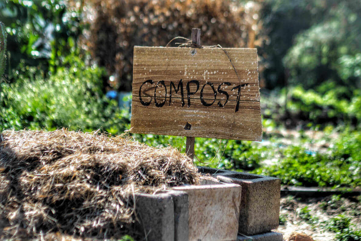 Compost sign in the garden