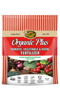 bag of organic plus tomato, vegetable, herb fertilizer