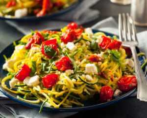 Pasta dish made out of zucchini noodles