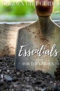 "Metal garden trowel in soil with text, ""Garde gift guide, essentials for the garden"""