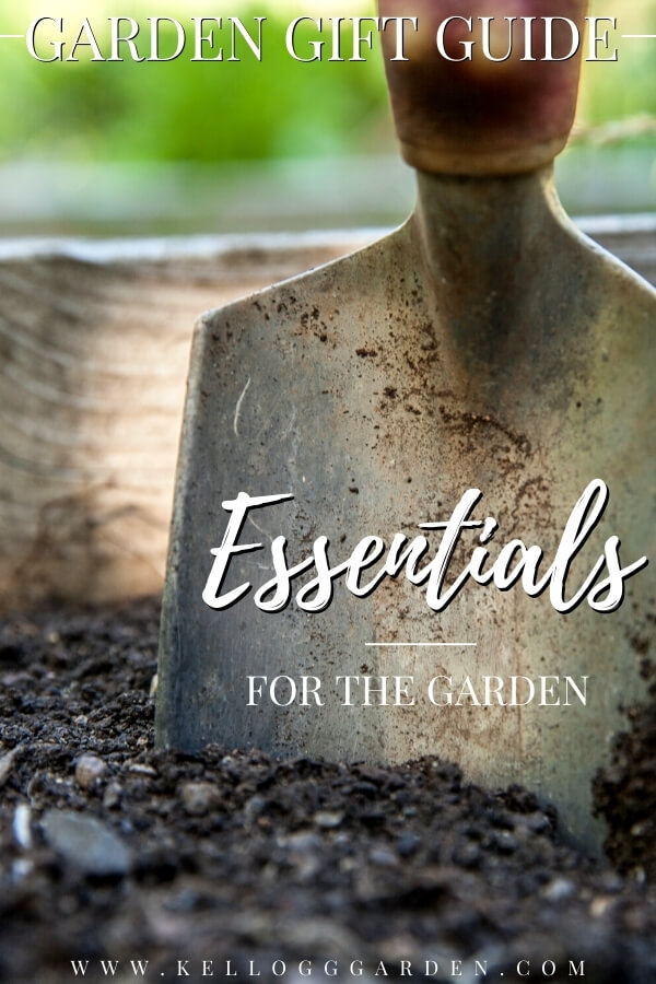 "Metal garden trowel in soil with text, ""Garde gift guide, essentials for the garden"""