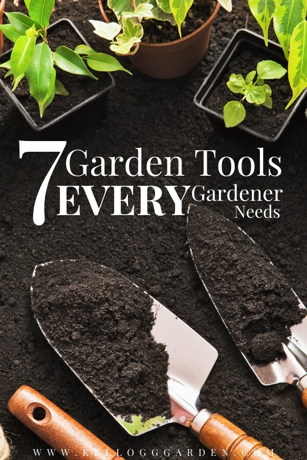 "Garden tools and potted seedlings with text, ""7 garden tools every gardener needs"""