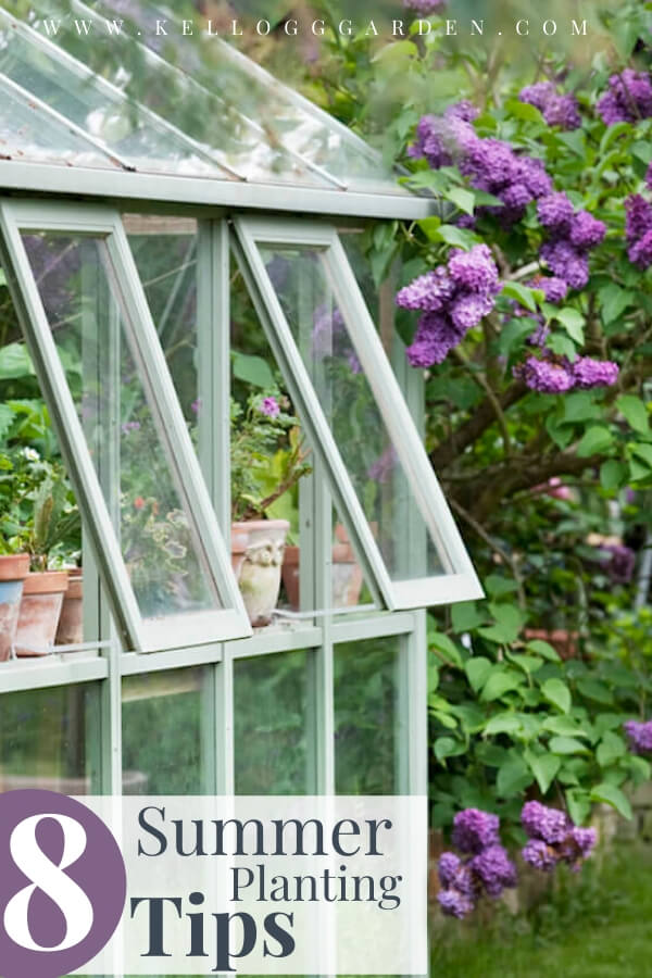 """Green house with flowers in the background with text, """"8 summer planting tips"""""""