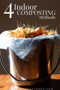 """Vegetable scraps and eggshells ready to be composted in a metal bucket with text, """"4 indoor composting methods"""""""