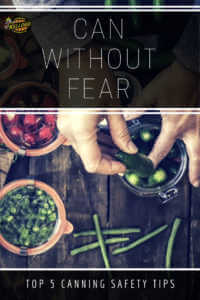 """Canned vegetables with text, """"Can without fear"""""""