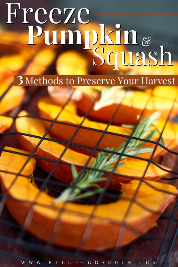 "Butternut squash on a baking sheet with rosemary and text, ""Freeze pumpkin and squash, 3 methods to preserve your harvest"""