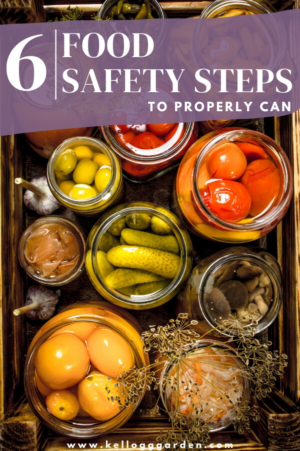 "Various canned vegetables with text, ""6 food safety steps to properly can"""