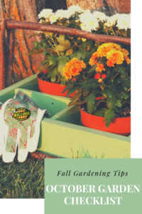 """Gloves and plants sitting in the grass with text, """"Fall gardening tips, October garden checklist"""""""