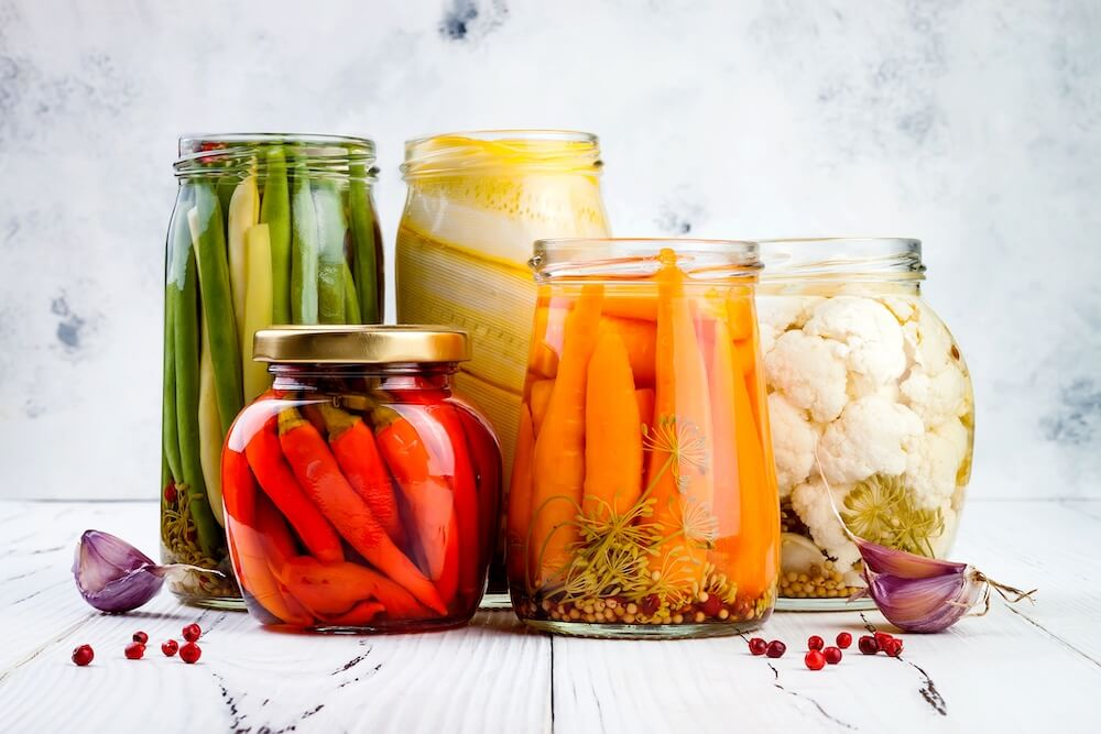 canned peppers, carrots, green beans, squash, cauliflower