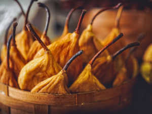 close-up shot of delicious dried pears in basket