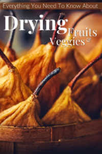 "Dried pears in a basket with text, ""Everything you need o know about drying fruits and veggies"""