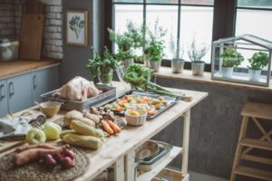 Kitchen counter with raw food on the table