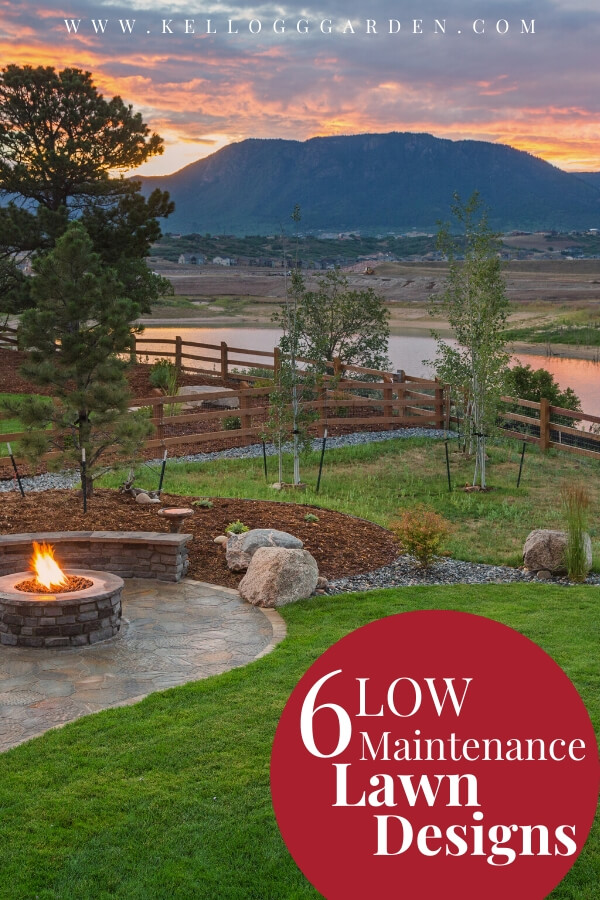 "Beautiful backyard with a sunset and mountains in the background with text, ""6 low maintenance lawn designs"""