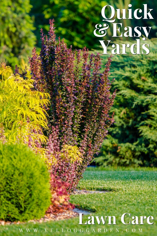 "Colorful shrubs and green gras with text, ""Quick and easy yards, lawn care"""