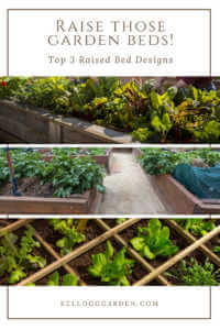 Top 3 Raised Bed Designs Pinterest image.