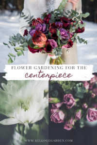 "Collage of flower centerpieces with text, ""Flower gardening for the centerpiece"""