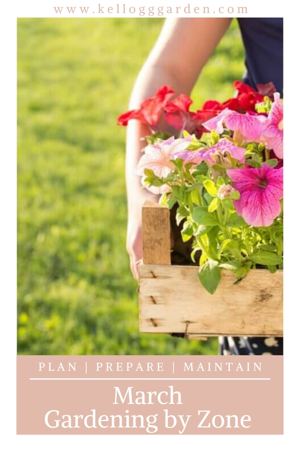 """Woman holding box of flowers with text, """"March Gardening By Zone"""""""