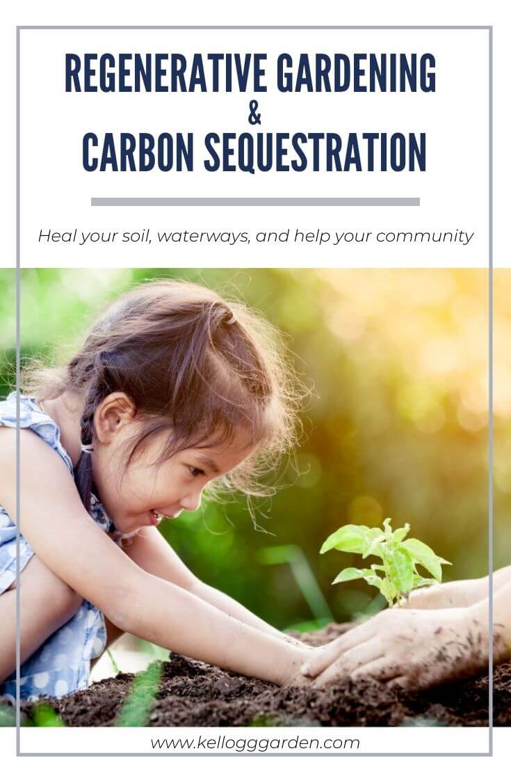 """Little girl putting her hands on the soil with text on image, """"Regenerative Gardening & Carbon Sequestration - Heal your soil, waterways, and help your community"""""""