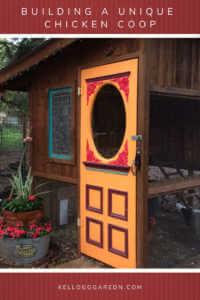 """Chicken coop with orange door and text, """"Building a Unique Chicken Coop"""""""