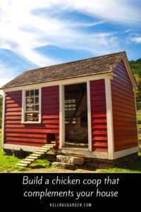"""Red barn style chicken coop with text, """"Building a chicken coop that compliments your house"""""""
