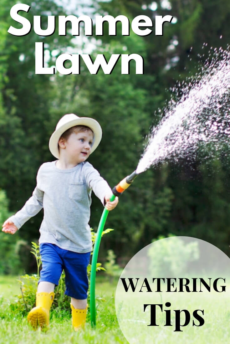 """Little boy running with water hose with text, """"Summer lawn watering tips"""""""
