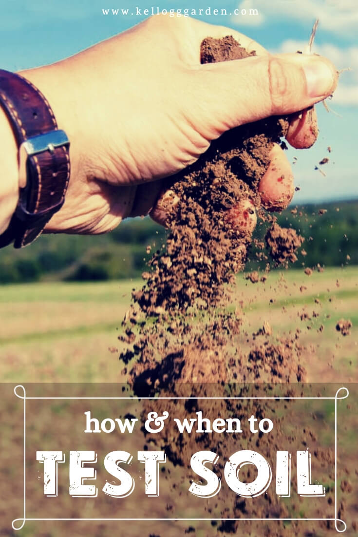 """Hand holding and dropping soil with text, """"How and when to test soil"""""""
