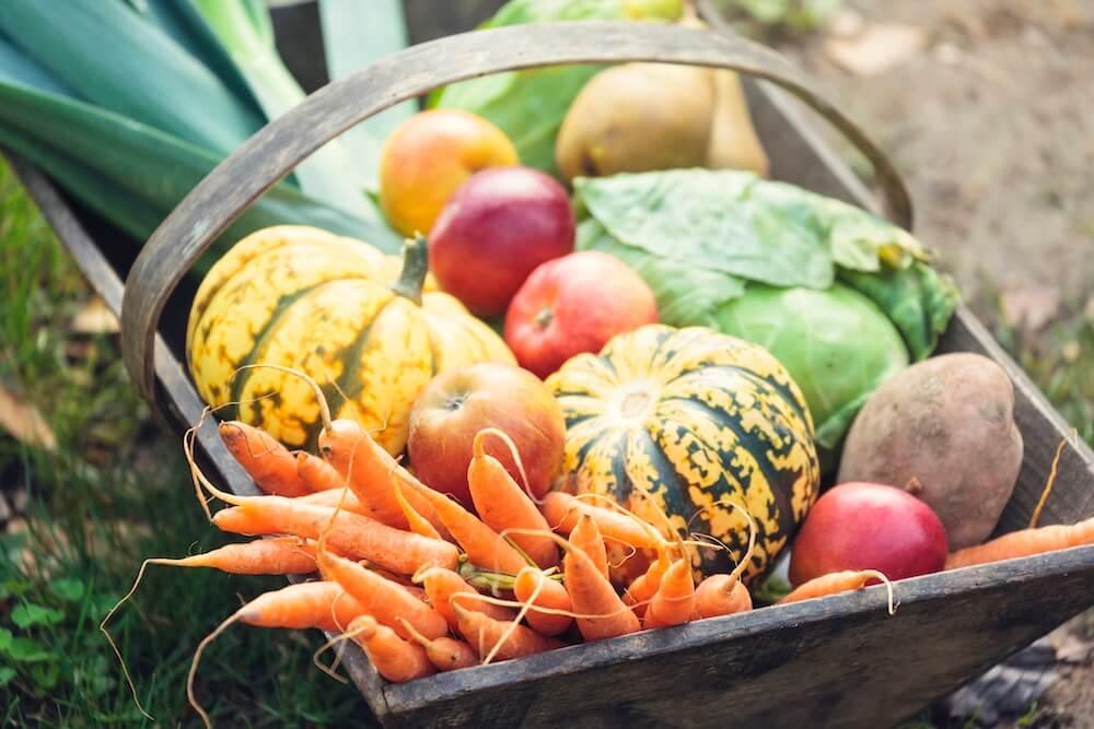 wooden basket full of assorted vegetables