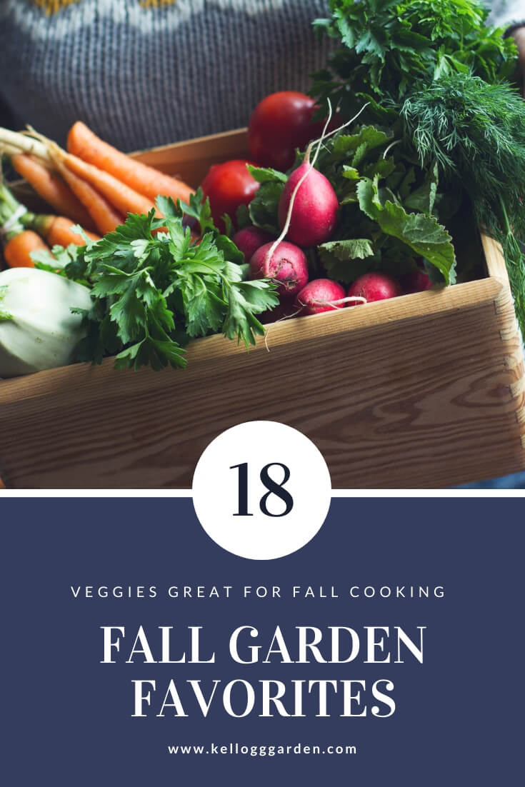 "Box of vegetables with text, ""18 veggies for fall cooking. Fall garden favorites"""