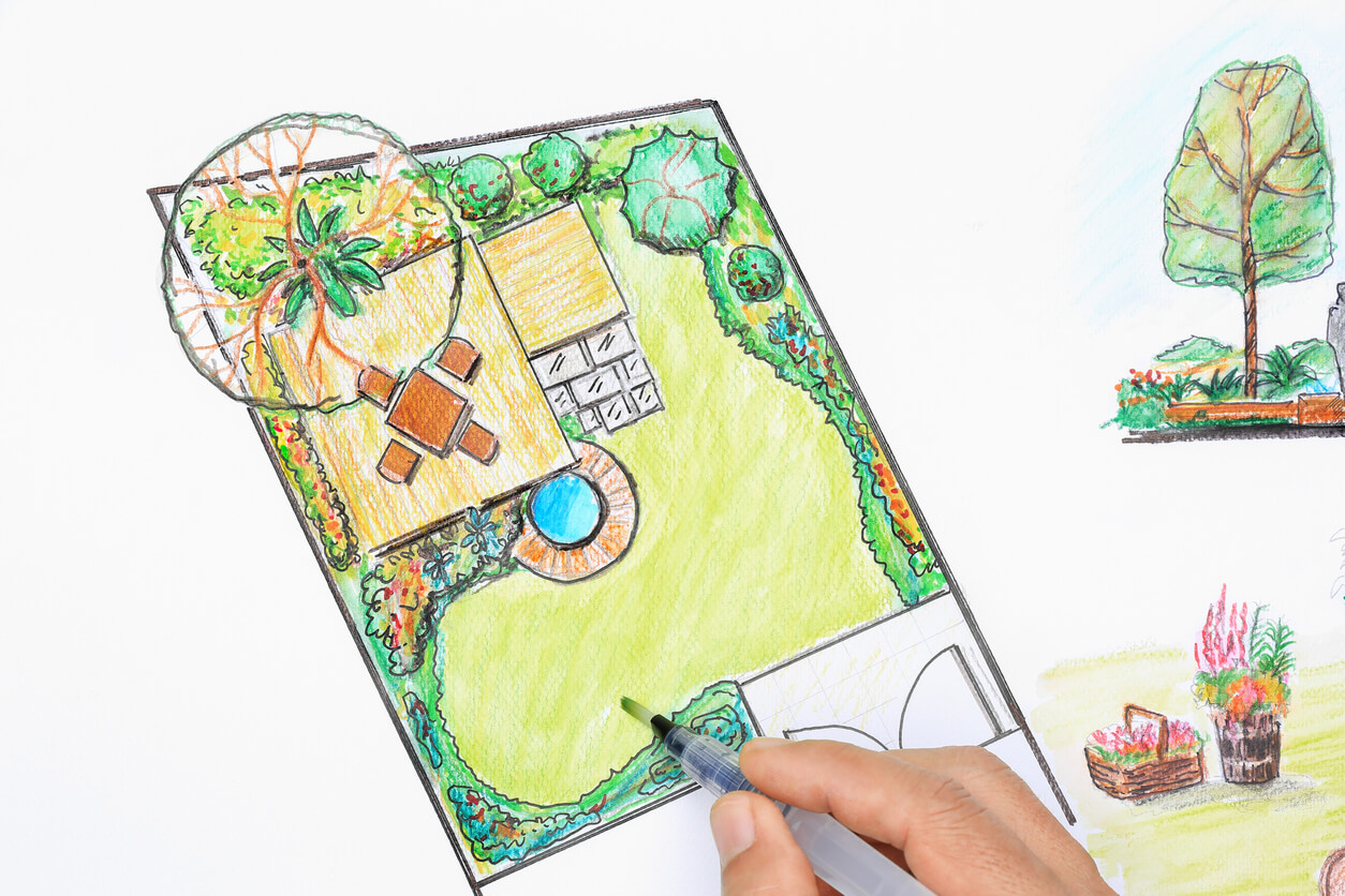 Landscape architect design for a small backyard plan in town