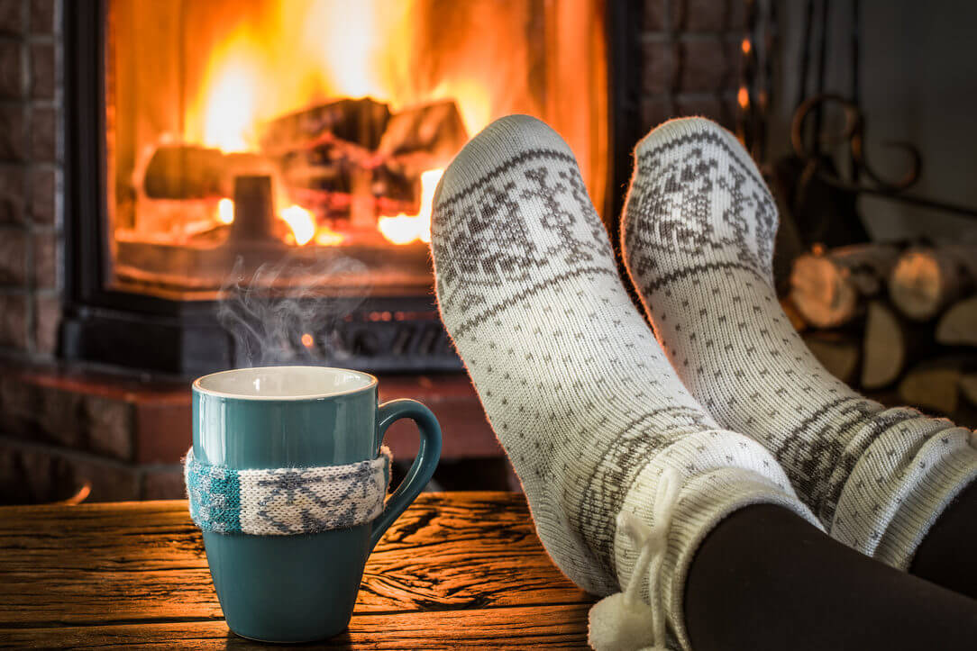 Warming Near Fireplace