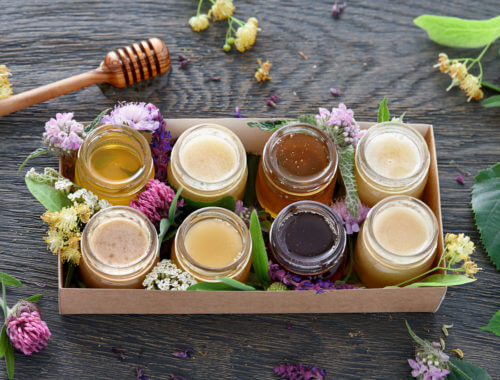 Different flavors of honey jars