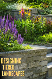 """Mortared stone with purple lupines flowers with text, """"deigning tiered landscapes"""""""