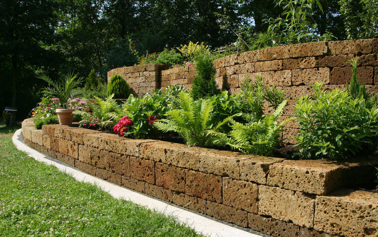 Tiered garden wall