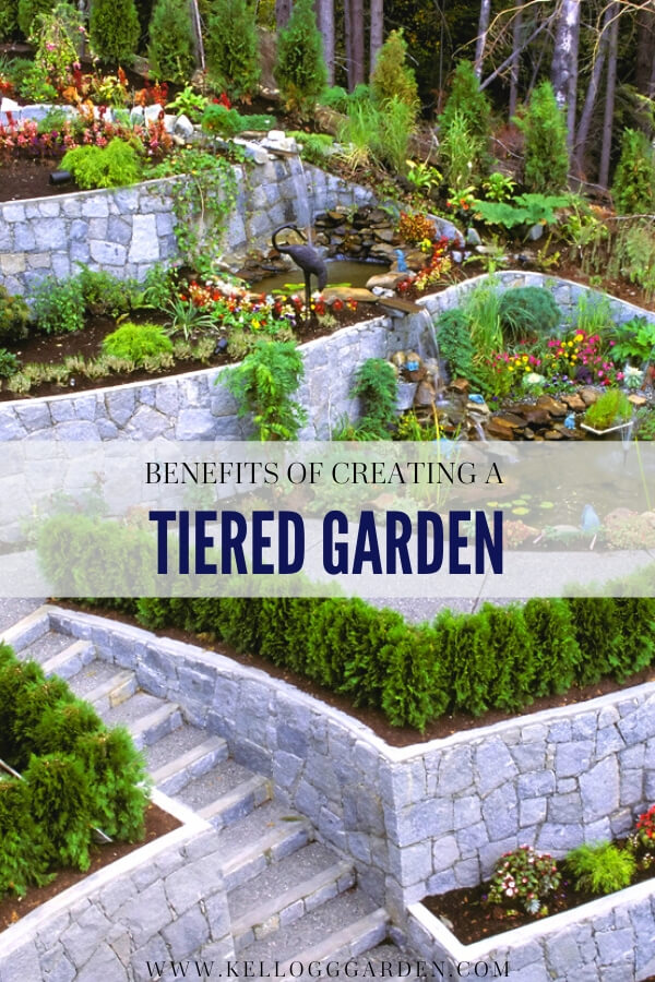 "Large concrete stone retaining wall creating a multi-level garden with text, ""Benefits of crating a tiered garden"""