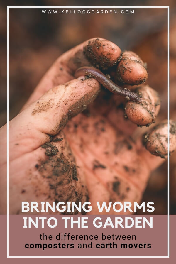"Hand covered in soil holding a worm with text, ""Brining worms into the garden, the difference between composters and earth movers"""