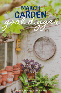 March goal digger pinterest image text with empty pots against a wall