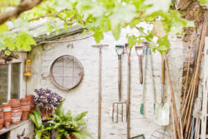 Tools hanging on a wall in a garden