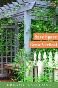 "Arbor covered in plants with text, ""Save Space, Grow Vertical. Organic Gardening"""