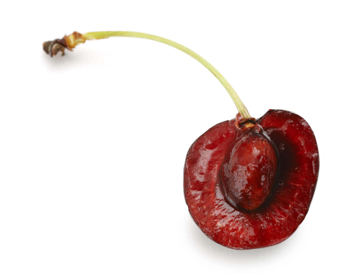 Halved Black Cherry with Pit Showing