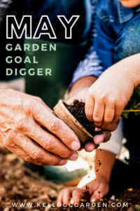 "Transplanting a seedling with text, ""May garden goal digger"""