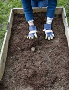 Putting soil into a garden bed