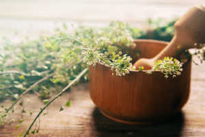 medicinal herbs in bowl