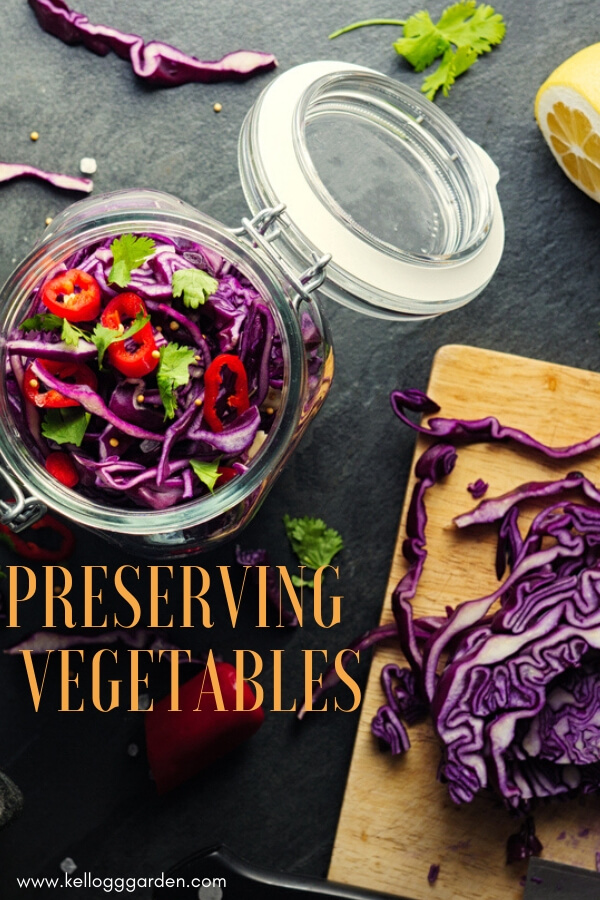 "Perserving peppers and cabbage with text, ""Preserving Vegetables"""